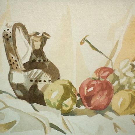 Natura morta con vaso e frutta